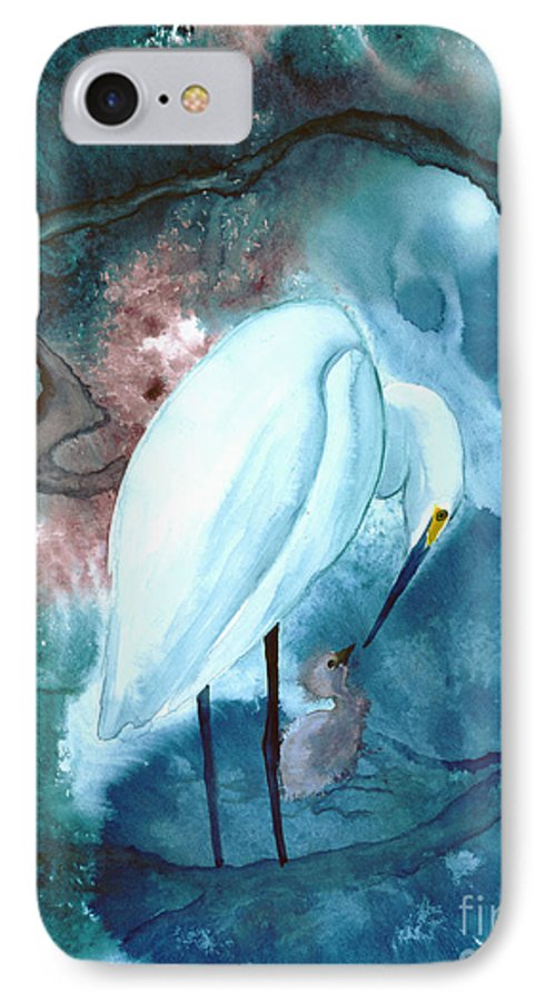A Mother Egret With Her Chick- A Watercolor Painting IPhone 7 Case featuring the painting Mother And Child by Mui-Joo Wee