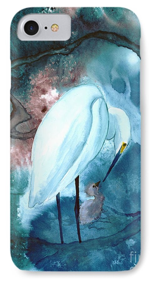 A Mother Egret With Her Chick- A Watercolor Painting IPhone Case featuring the painting Mother And Child by Mui-Joo Wee