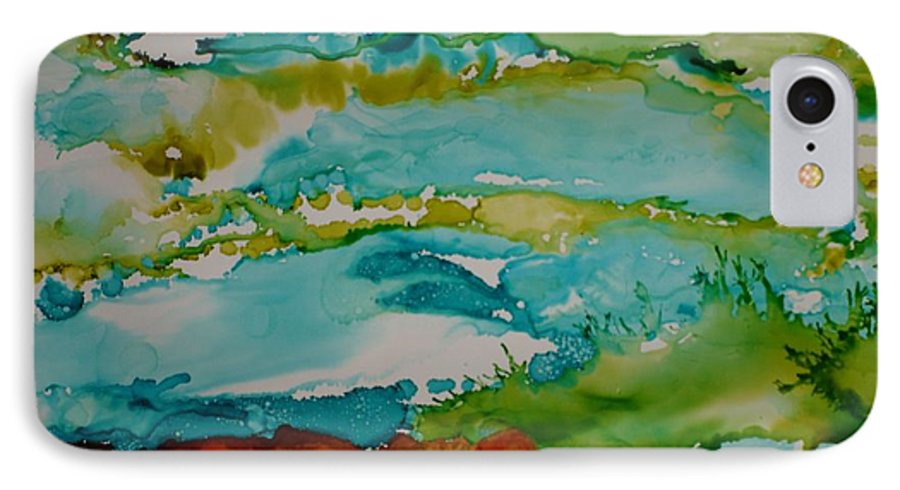 Wave IPhone 7 Case featuring the mixed media Mother Ocean by Susan Kubes