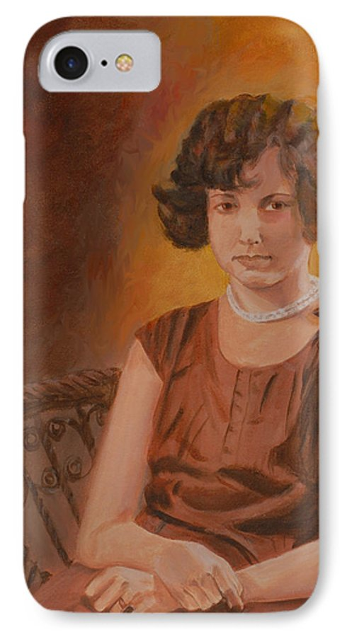Woman IPhone 7 Case featuring the painting Mother by Quwatha Valentine