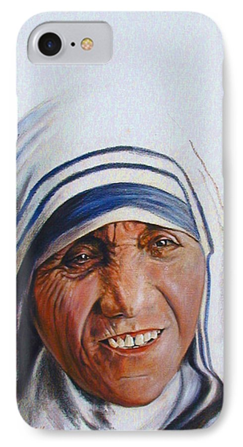 Mother Teresa IPhone 7 Case featuring the painting Mother Teresa by John Lautermilch