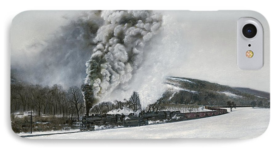 Trains IPhone 7 Case featuring the painting Mount Carmel Eruption by David Mittner
