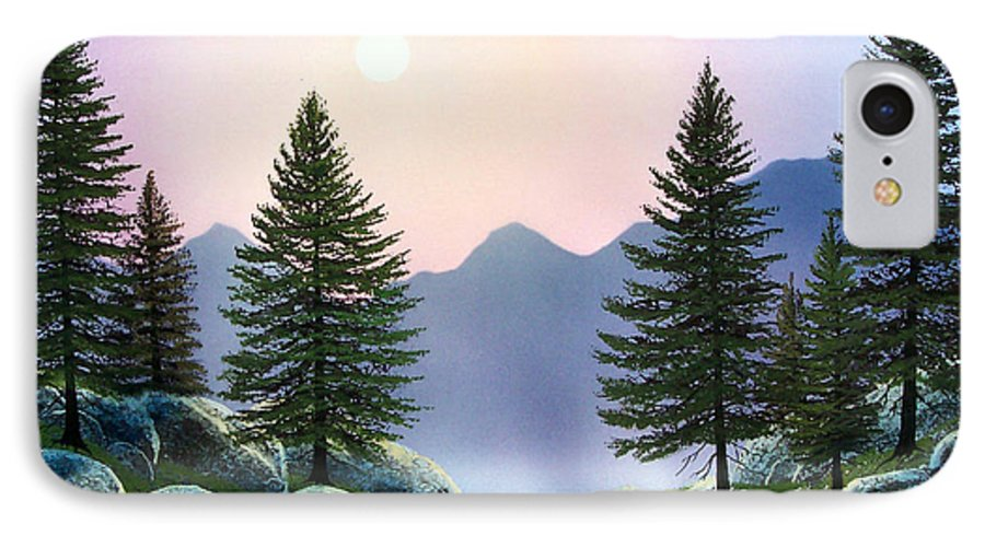 Landscape IPhone 7 Case featuring the painting Mountain Firs by Frank Wilson