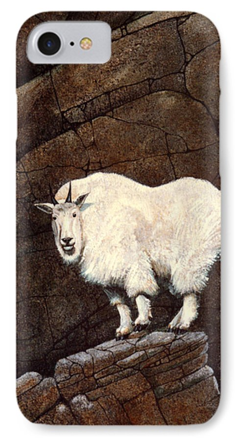 Wildlife IPhone 7 Case featuring the painting Mountain Goat by Frank Wilson