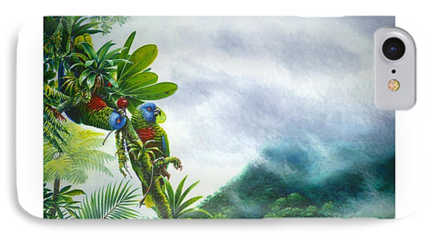 Chris Cox IPhone 7 Case featuring the painting Mountain High - St. Lucia Parrots by Christopher Cox