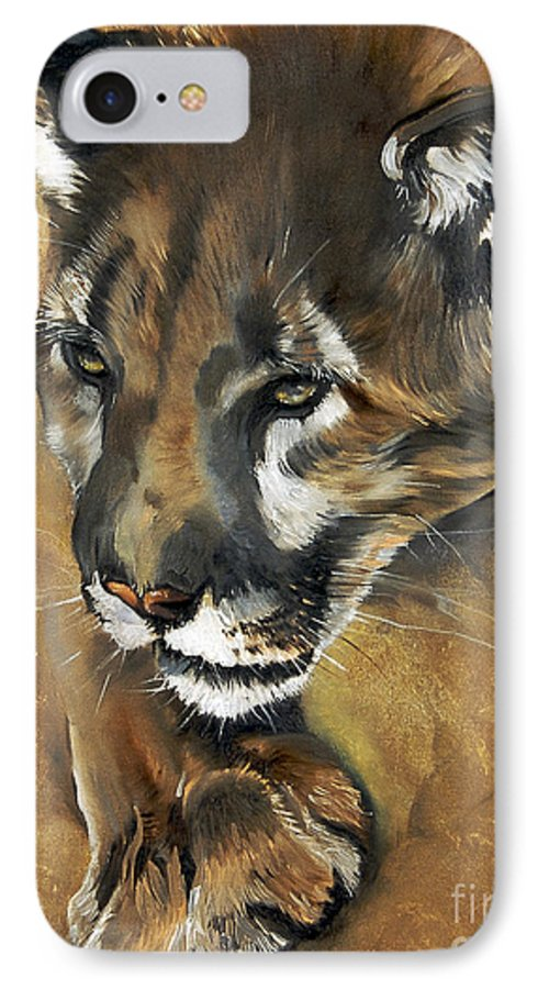 Southwest Art IPhone 7 Case featuring the painting Mountain Lion - Guardian Of The North by J W Baker