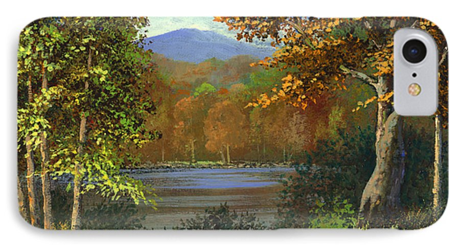 Landscape IPhone 7 Case featuring the painting Mountain Pond by Frank Wilson