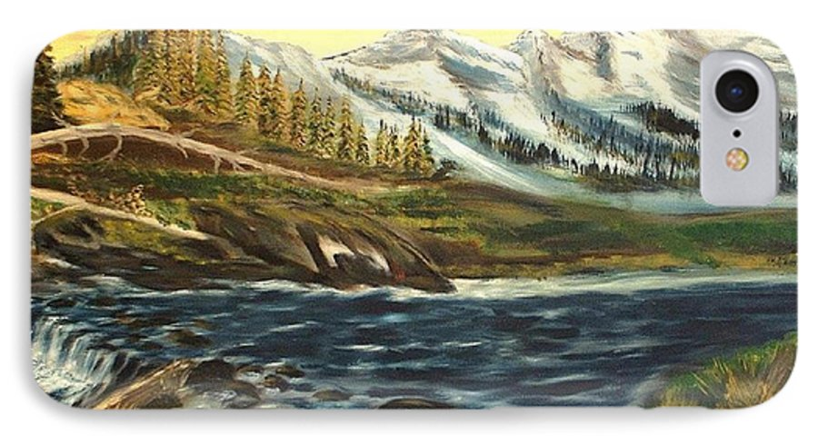 Landscape IPhone 7 Case featuring the painting Mountain River by Kenneth LePoidevin