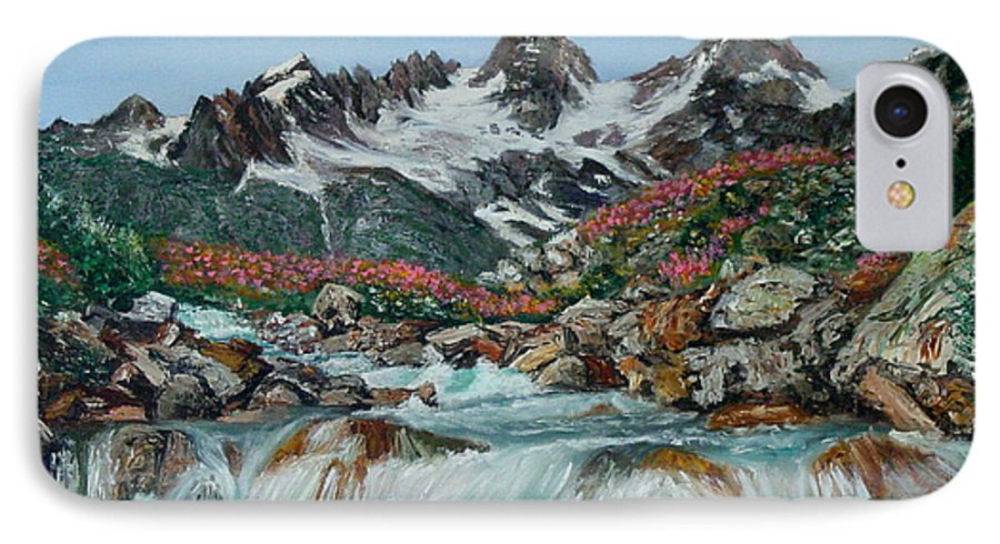Mountain IPhone 7 Case featuring the painting Mountain Stream by Quwatha Valentine