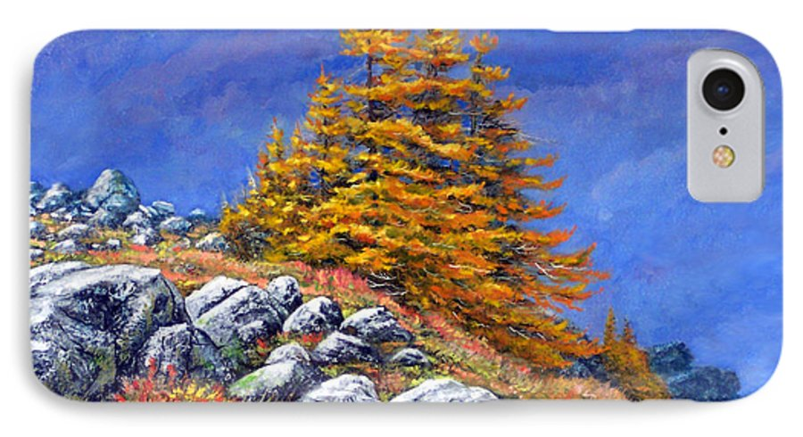 Mountains IPhone 7 Case featuring the painting Mountain Tamaracks by Frank Wilson