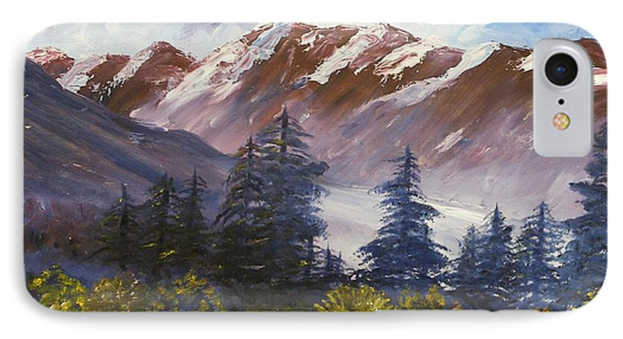Oil Painting IPhone 7 Case featuring the painting Mountains I by Lessandra Grimley