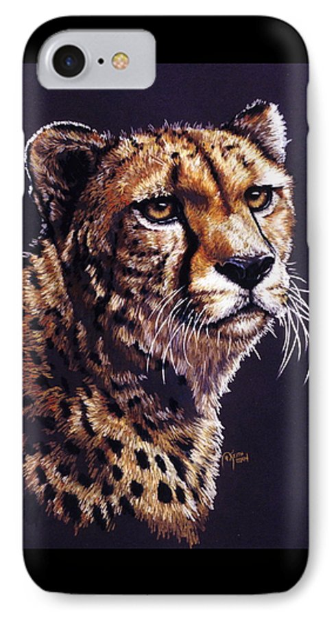 Cheetah IPhone 7 Case featuring the drawing Movin On by Barbara Keith