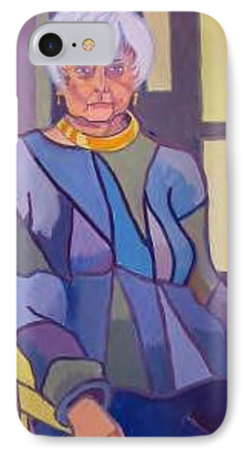 Mature Woman Sitting In A Chair IPhone 7 Case featuring the painting Mrs. Edith Lipton by Debra Bretton Robinson