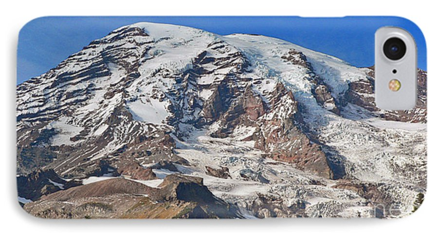 Mountains IPhone 7 Case featuring the photograph Mt. Rainier In The Fall by Larry Keahey