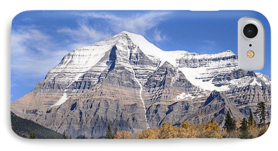 Rocky Mountain IPhone 7 Case featuring the photograph Mt. Robson- Canada's Tallest Peak by Tiffany Vest