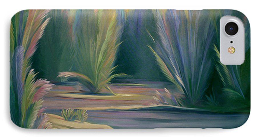 Feathers IPhone 7 Case featuring the painting Mural Field Of Feathers by Nancy Griswold