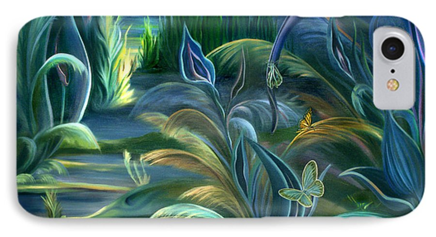Mural IPhone 7 Case featuring the painting Mural Insects Of Enchanted Stream by Nancy Griswold