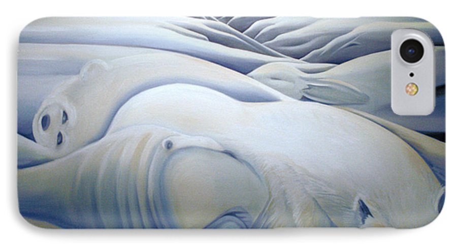 Mural IPhone 7 Case featuring the painting Mural Winters Embracing Crevice by Nancy Griswold