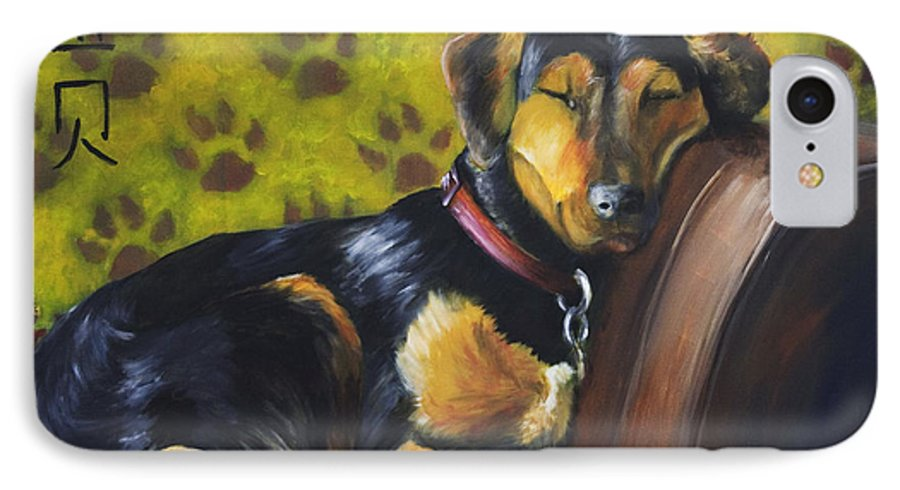 Dog IPhone 7 Case featuring the painting Murphy Vi Sleeping by Nik Helbig