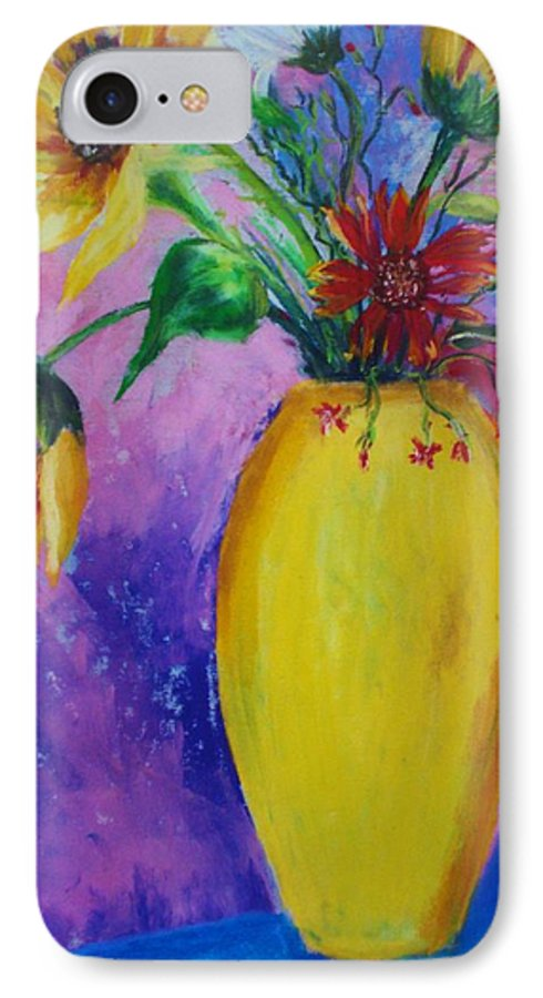 Sunflowers IPhone 7 Case featuring the painting My Flowers by Melinda Etzold