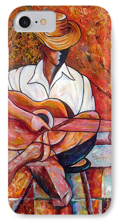 Cuba Art IPhone 7 Case featuring the painting My Guitar by Jose Manuel Abraham