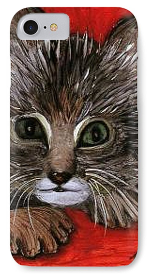 Very Curious And Beautiful Kittie Cat IPhone 7 Case featuring the painting My Kittie Cat by Pilar Martinez-Byrne