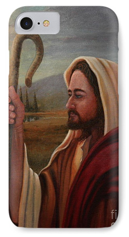 Shepherd IPhone 7 Case featuring the painting My Shepherd by Michael Nowak
