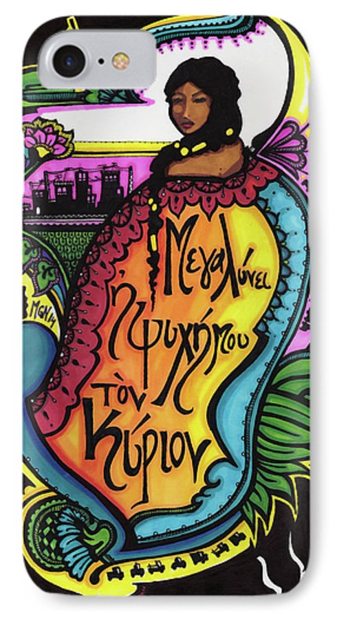 Mary The Mother Of God IPhone 7 Case featuring the drawing My Soul Magnifies The Lord by Maggie Nancarrow