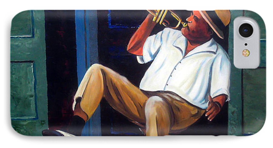 Cuba Art IPhone 7 Case featuring the painting My Trumpet by Jose Manuel Abraham