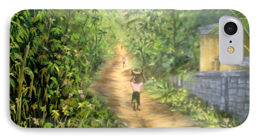 Culture IPhone 7 Case featuring the painting My Village by Olaoluwa Smith