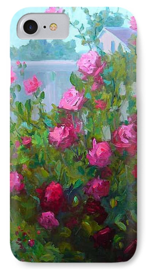 Climing Red Roses On Fence IPhone 7 Case featuring the painting Myback Yard Roses by Patricia Kness
