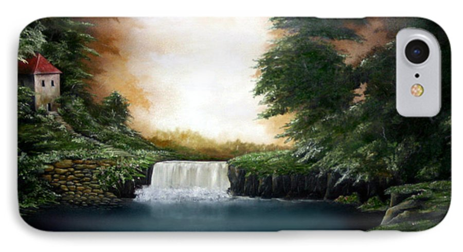 Falls IPhone 7 Case featuring the painting Mystical Falls by Ruben Flanagan
