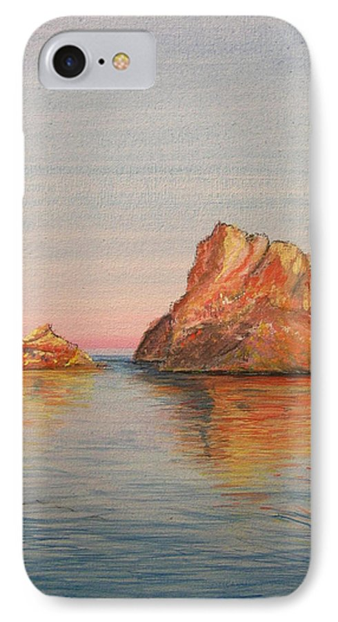 Island IPhone 7 Case featuring the painting Mystical Island Es Vedra by Lizzy Forrester