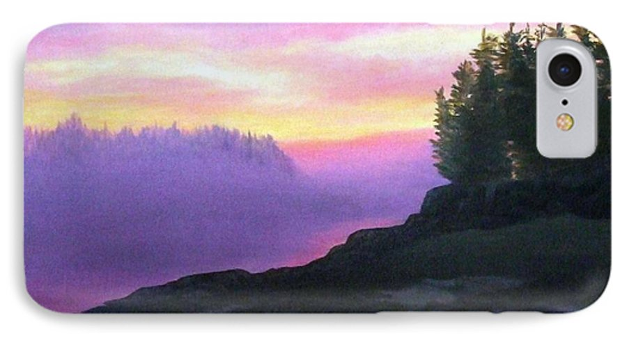 Sunset IPhone 7 Case featuring the painting Mystical Sunset by Sharon E Allen