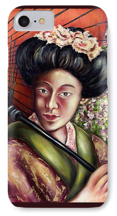 Japanese IPhone 7 Case featuring the painting Nadeshiko by Hiroko Sakai
