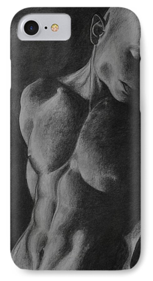 Man IPhone 7 Case featuring the drawing Naked Man by Trisha Lambi
