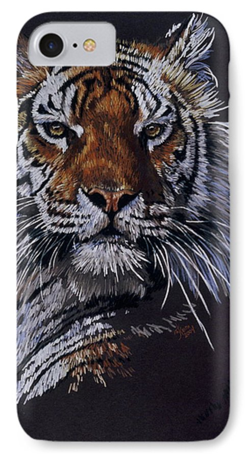 Tiger IPhone 7 Case featuring the drawing Nakita by Barbara Keith