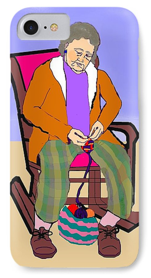 Grandmother IPhone 7 Case featuring the digital art Nana Knitting by Pharris Art
