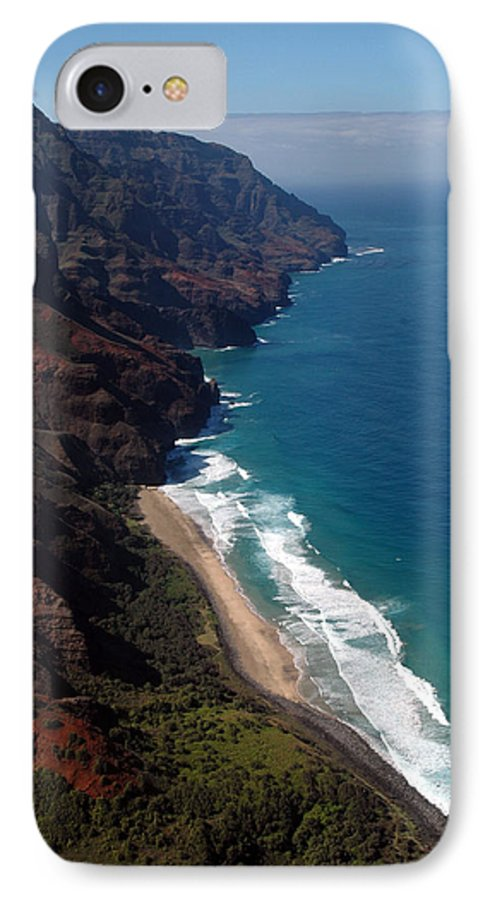 Hawaii IPhone 7 Case featuring the photograph Napali Cliffs by Kathy Schumann
