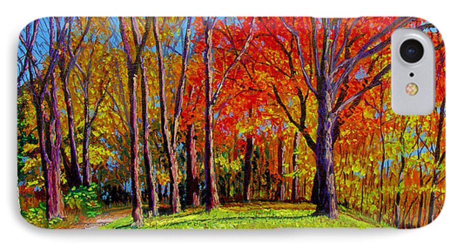 Trees Autumn Hill Grass Sunshine Shadows Sky Colors Path IPhone 7 Case featuring the painting Nashville North by Stan Hamilton