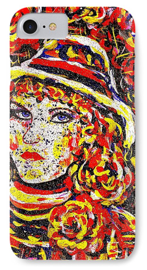 Woman IPhone 7 Case featuring the painting Nat With The Hat by Natalie Holland