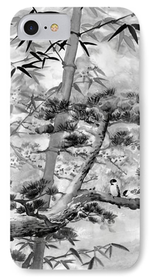 Black And White IPhone 7 Case featuring the painting Nature by Eileen Fong