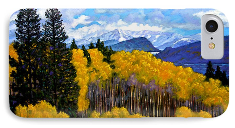 Fall IPhone 7 Case featuring the painting Natures Patterns - Rocky Mountains by John Lautermilch