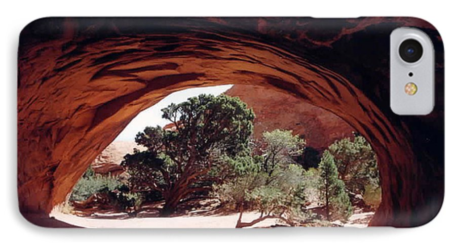 Utah IPhone 7 Case featuring the photograph Navajo Arch by Kathy Schumann