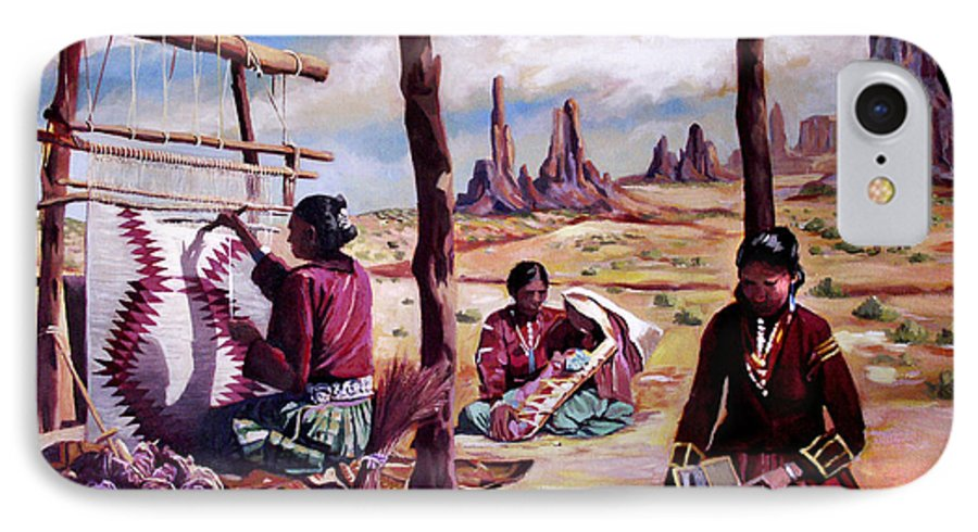Native American IPhone 7 Case featuring the painting Navajo Weavers by Nancy Griswold