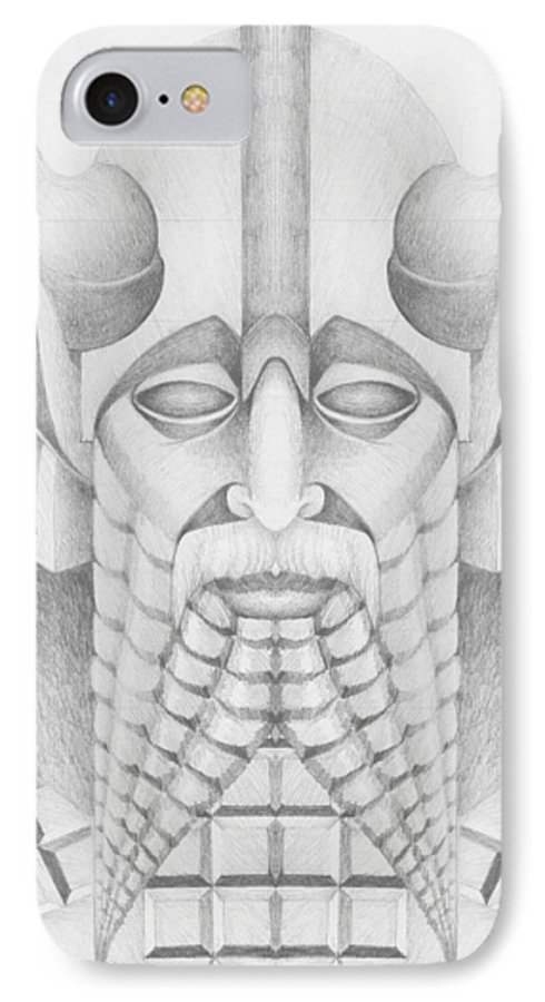 Babylonian IPhone 7 Case featuring the drawing Nebuchadezzar by Curtiss Shaffer