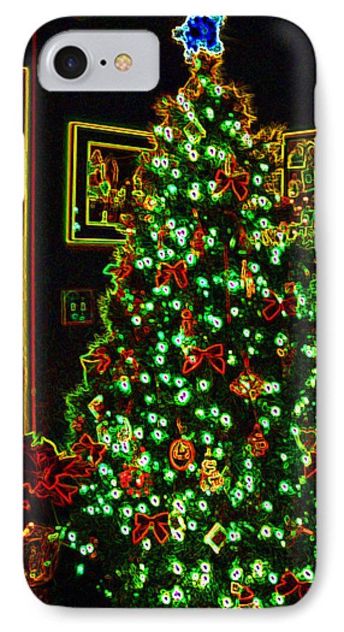 Christmas IPhone 7 Case featuring the photograph Neon Christmas Tree by Nancy Mueller