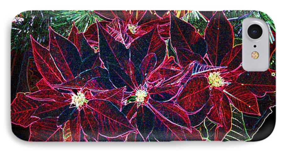 Flowers IPhone 7 Case featuring the photograph Neon Poinsettias by Nancy Mueller