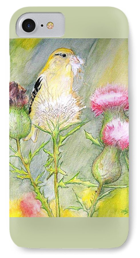 Goldfinch IPhone 7 Case featuring the painting Nest Fluff by Debra Sandstrom