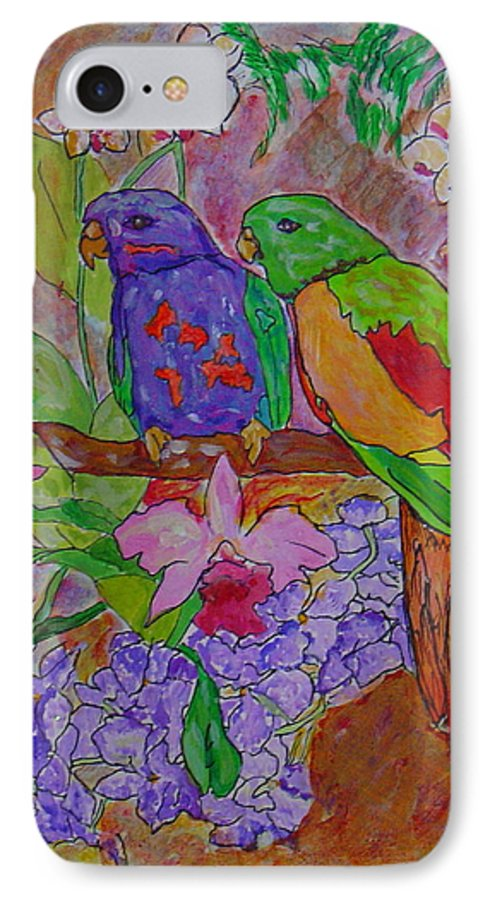Tropical Pair Birds Parrots Original Illustration Leilaatkinson IPhone 7 Case featuring the painting Nesting by Leila Atkinson
